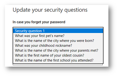 Windows 10 Security Questions